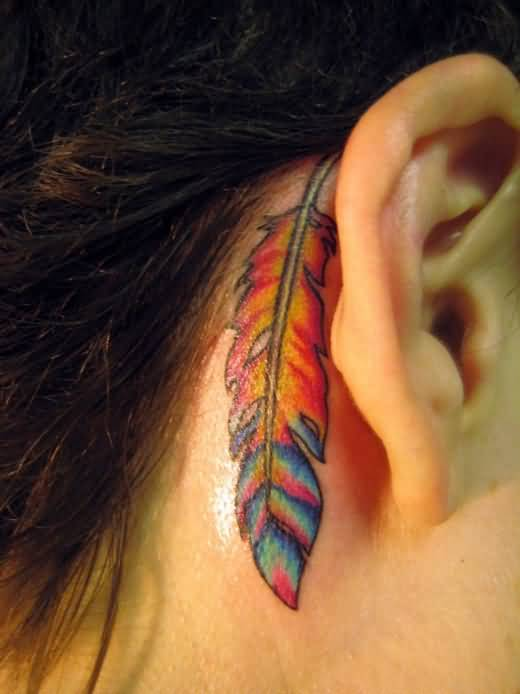 Mind Blowing Ear Feather Tattoo Design Made By Colorful Ink