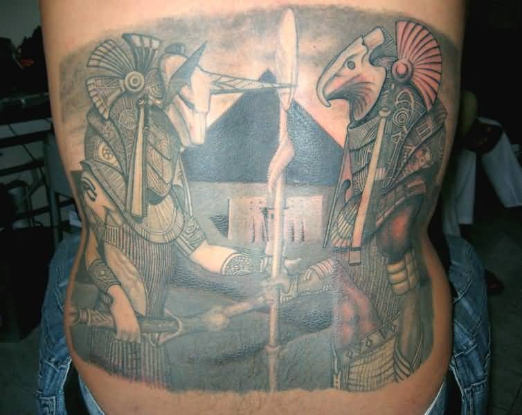 Mind Blowing Egyptian God Tattoo Make On Back
