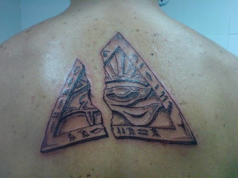 Mind Blowing Egyptian Horus Eye Tattoo Design Make On Upper Back