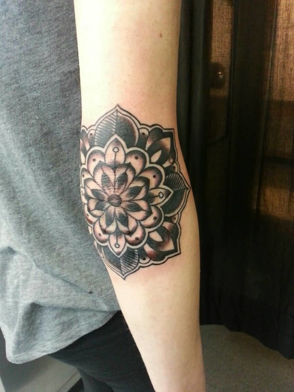 Mind Blowing Flower Elbow Tattoo Design