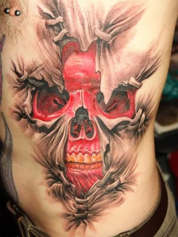 Mind Blowing Ripped Skin Extreme Red Ink Skull Tattoo On Rib Side