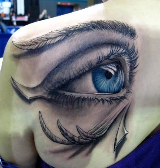 Mind Blowing Upper Side Back Cover Up With Outstanding  Ra Eye Tattoo For Women