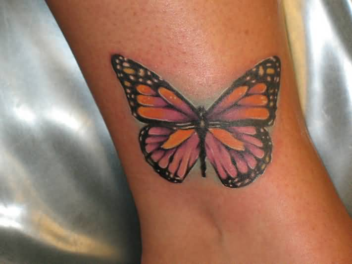 Nice Colorful Feminine Butterfly Tattoo Design