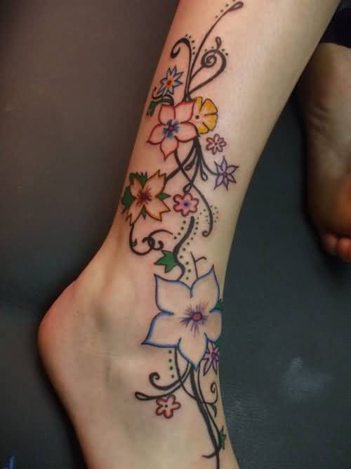 Nice Colorful Feminine Flower Tattoo Design Make On Leg to Foot