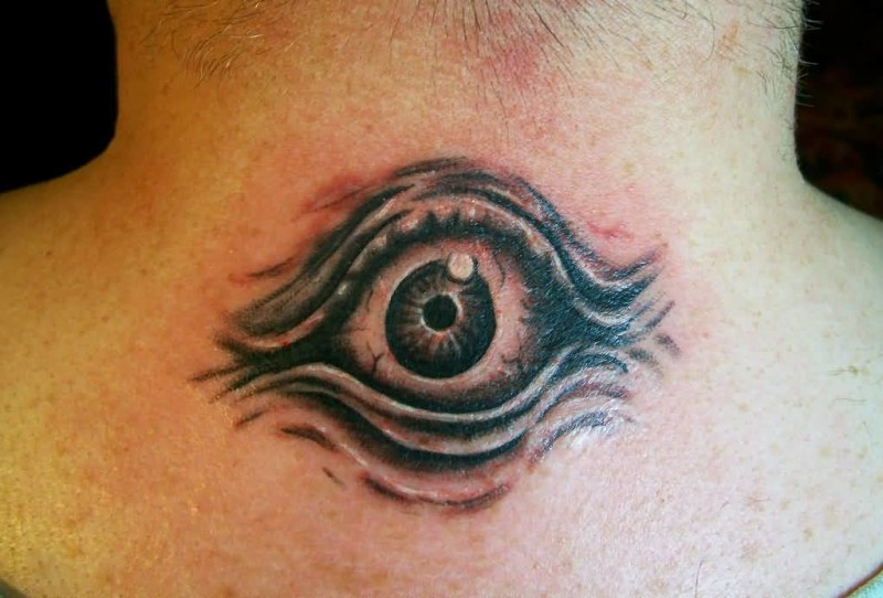 Nice Looking Eye Tattoo Design Make On Upper Back