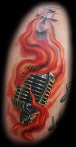 Nice Looking  Fire n Flame Mic Tattoo