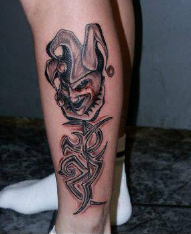 Nice One Angry Fantasy Clown And Tribal Tattoo On Side Leg