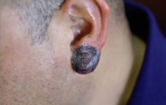 Nice One Jesus God Face Tattoo Design Make On Ear For Men
