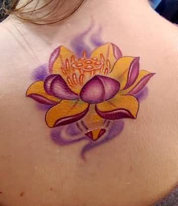 Nice One Upper Back Awesome Lotus Flower Tattoo For Young Women
