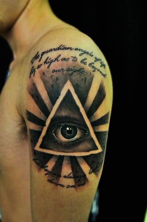 Nice Wording And Rising Sun Triangle Eye Tattoo Design Make On Upper Sleeve