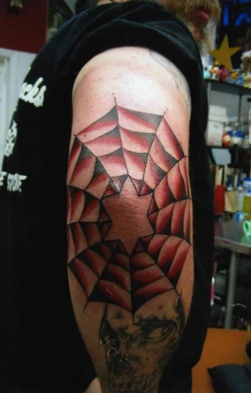 Old Men Show Fabulous Spider Web Tattoo Design Make On Elnow