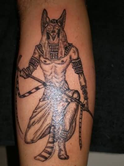 Awesome Red Eyes Dangerous Angry Egyptian God Sleeve Tattoo