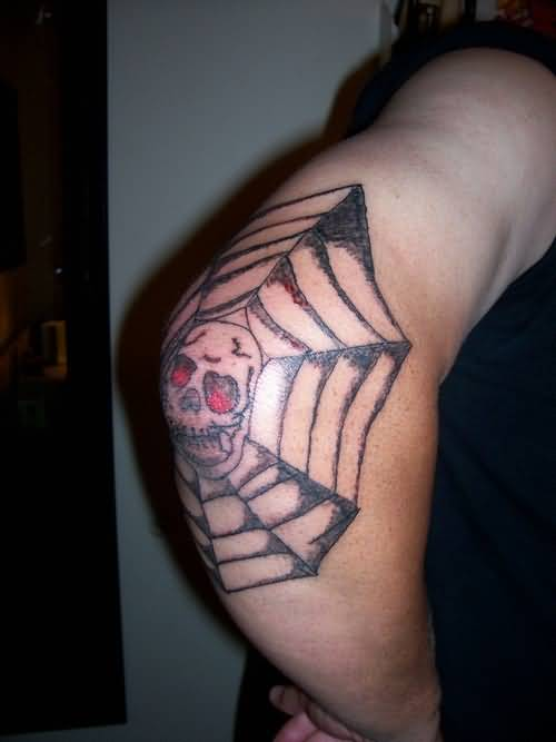 Outstanding Angry Skull With Amazing Spider Web Elbow Tattoo