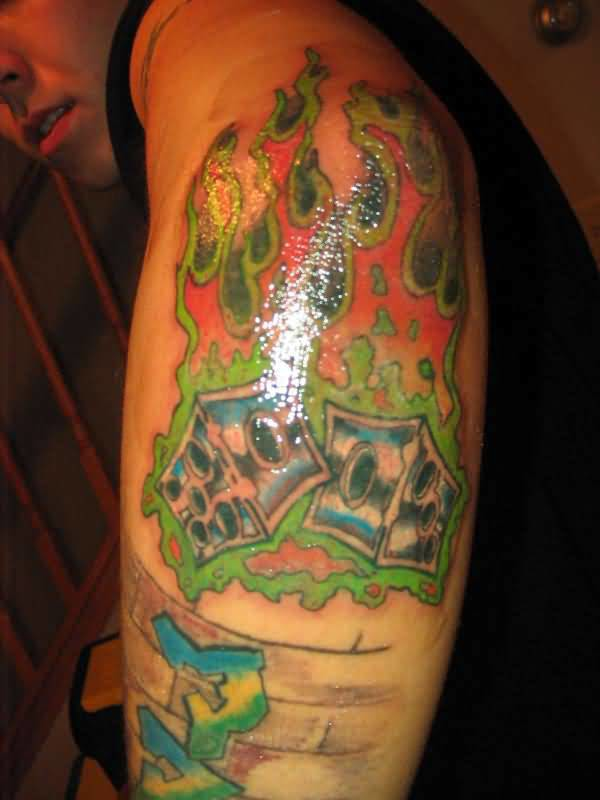 Outstanding Flaming Dice Tattoo Make On Men's Elbow