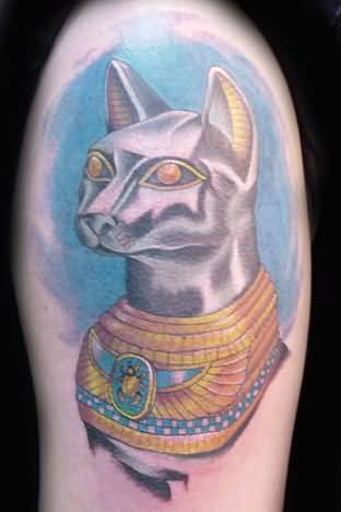 Outstanding Golden Eye Marvelous Egyptian Cat Tattoo
