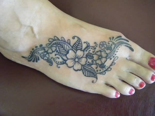 Perfect Nice Flower Tattoo Design Image Make On Women's Foot