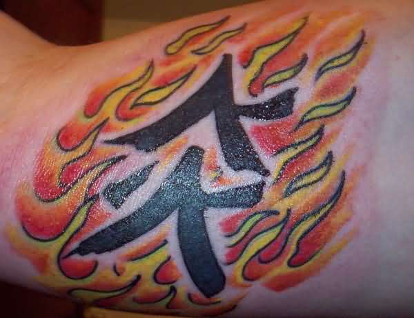 Popular Black Ink  Fire n Flame Chinese Letters  Tattoo