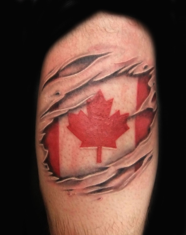Popular Ripped Skin Canadian Flag Tattoo