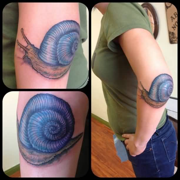 Pretty Hot Women Show Wonderful Blue Ink Snail Tattoo On Elbow