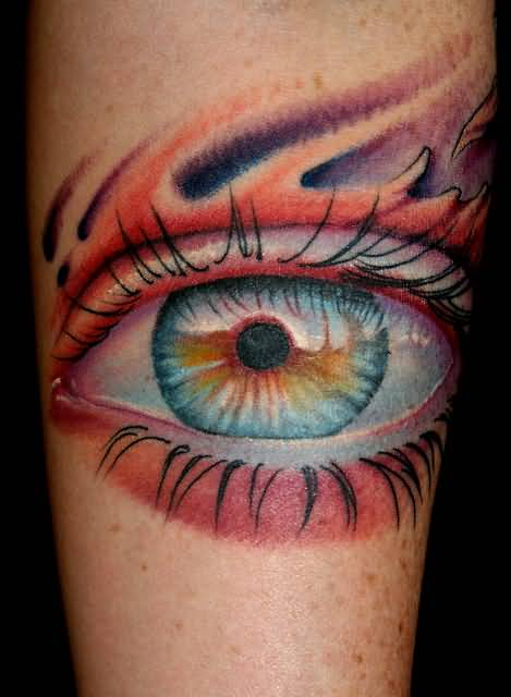 brilliant 3d realistic eye clock tattoo made by artist. Black Bedroom Furniture Sets. Home Design Ideas