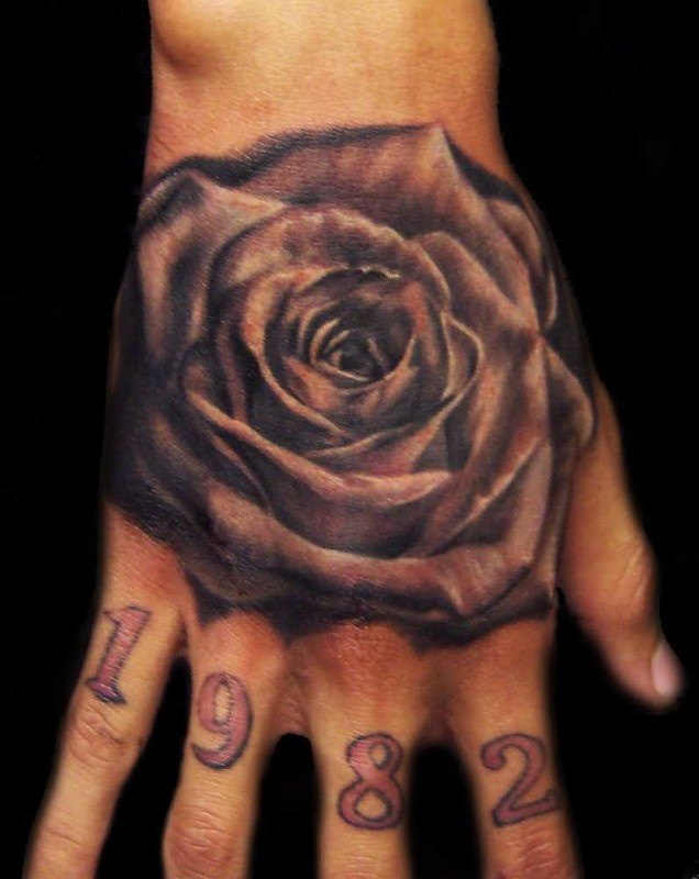 Realistic Floral Flower And Memorable Date Tattoo Design On Hand