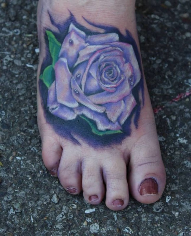 Realistic Flower Foot Tattoo Design Made By Perfect Artist