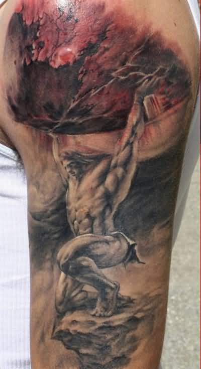 Realistic Muscular Jesus Fantasy God Tattoo On Men's Upper Sleeve