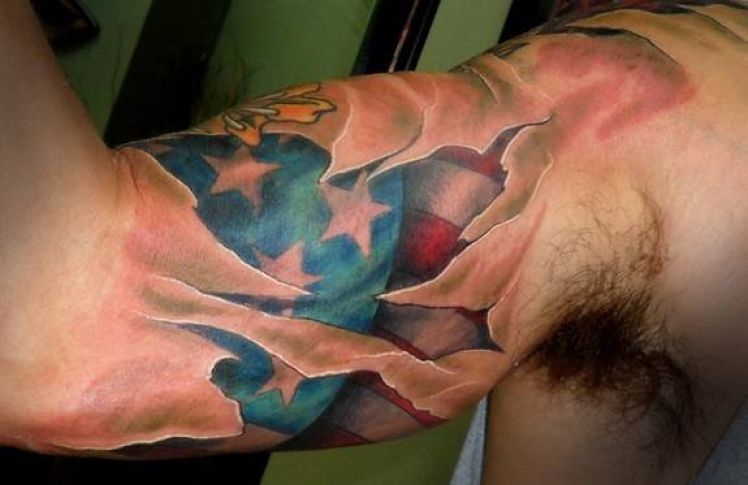 Realistic New Upper Sleeve Decorated With Brilliant Ripped Skin American Flag Tattoo