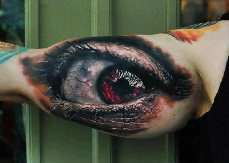 Realistic Upper Sleeve Decorated With Outstanding  Eye Tattoo