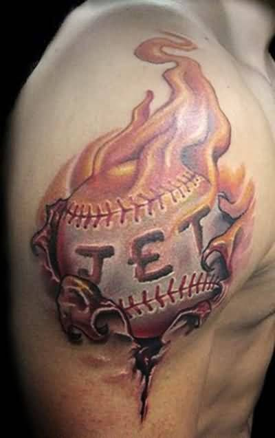 Realistic Upper Sleeve Ripped Skin Fire n Flame Baseball Tattoo