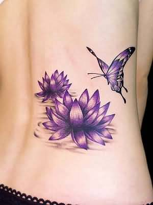 Simple Cool Flying Butterfly And Flower Women Tattoo Make On Lower Side Back