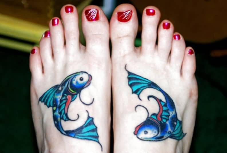Simple Crawling Fish Women Foot Tattoo Design Image