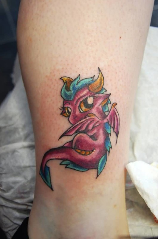 Simple Crazy Pink Ink Fantasy Dragon Tattoo