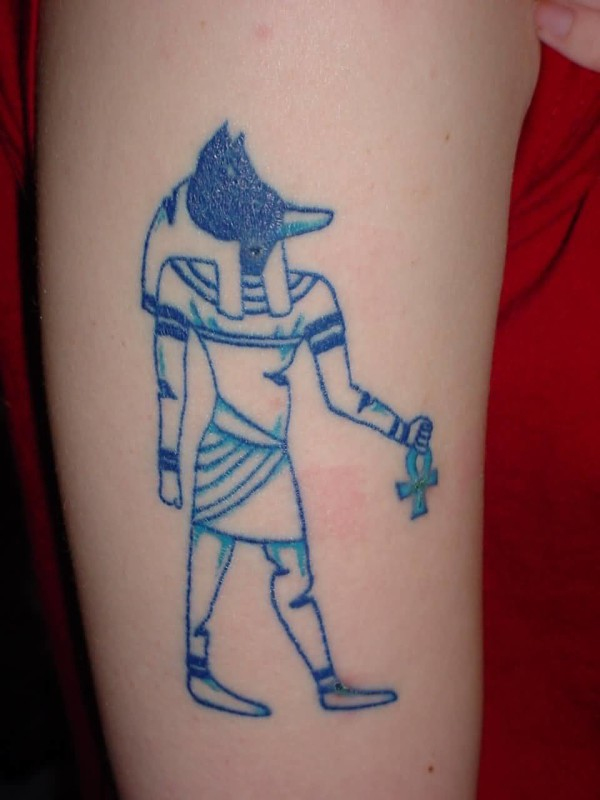 Simple Egyptian God Tattoo Design Made By Blue Ink