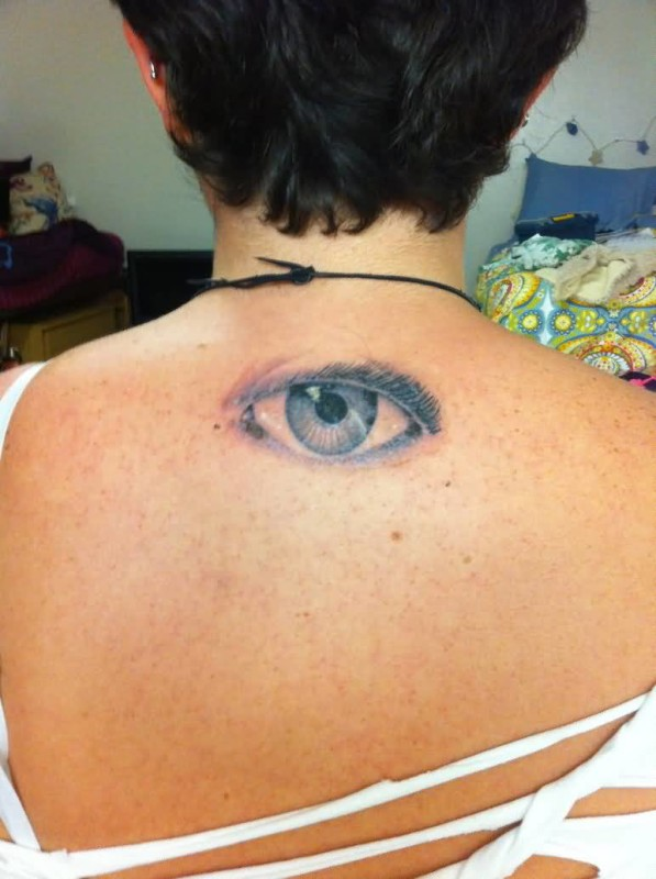 Simple Eye Tattoo Design Make On Upper Back For Women