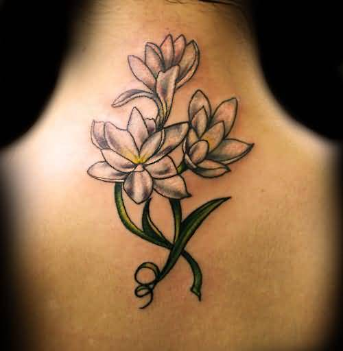 Simple Feminine Flower Tattoo Design Make On Neck Back