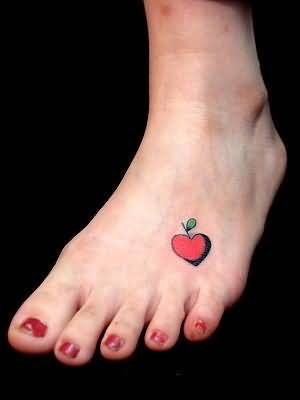 Simple Foot Tattoo Of Nice Red Heart For Pretty Hot Women