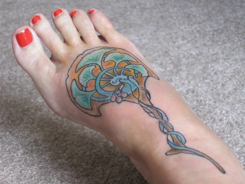 Simple Nice One Foot Tattoo Design For Young Women