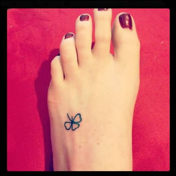Simple Small 3 Leaf Clover Tattoo Design Image Make On Women's Foot