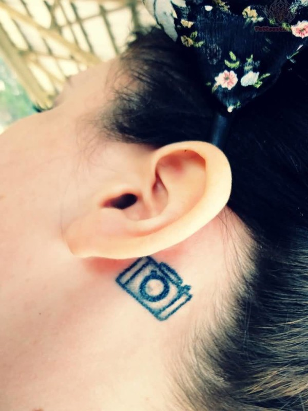 Simple Small Amazing Camera Ear Tattoo For Women