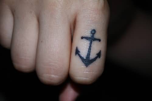 Simple Small Black Anchor Finger Tattoo