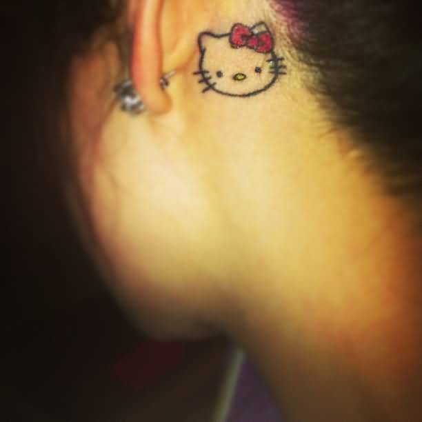 Simple Small Sweet Kitty Tattoo On Behind Ear For Women
