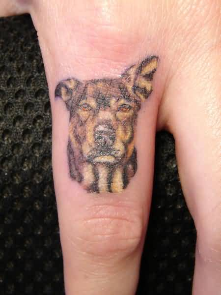 Simple Sweet Sad Dog Face Tattoo Design Make On Women's Finger