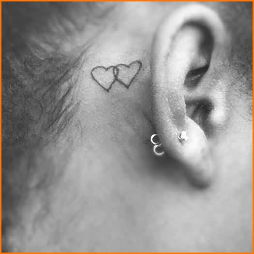 Simple Tein Small Lovely Hearts Tattoo  On Women's Back Ear
