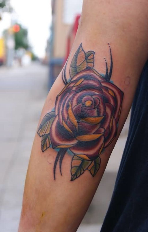 Stunning Classy Rose Flower Elbow Tattoo Design
