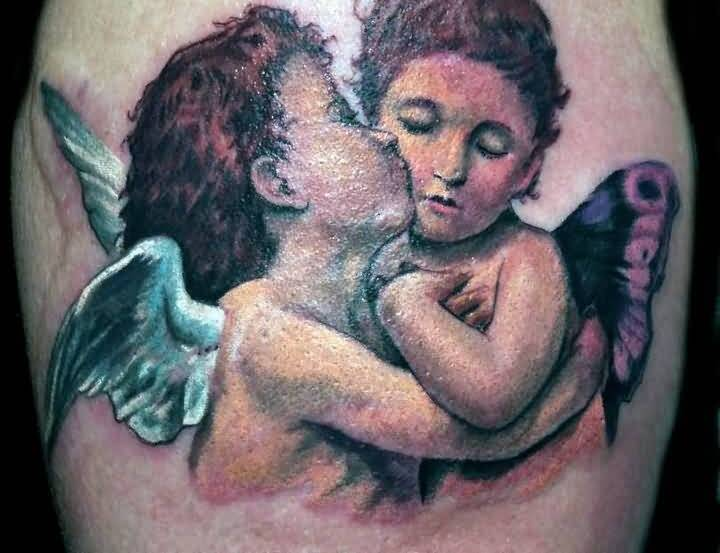 Sweet Baby Angel And Nice Fairy Tattoo Design By Perfect Artist