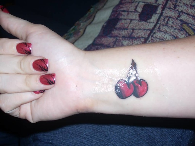 Sweet Yummy Red Ink Feminine Cherry Tattoo Design Make On Lower Sleeve