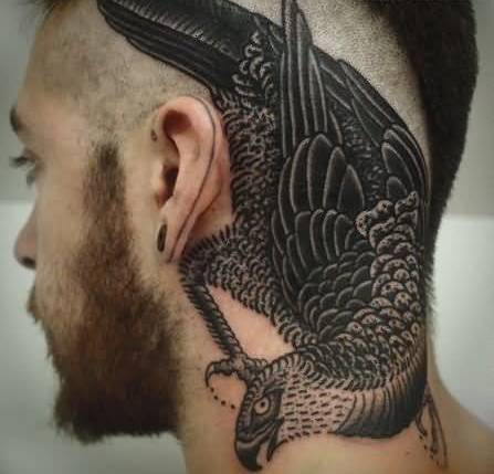 Traditional Old Big Crow Tattoo Design Make On Back Ear For Handsome Cool Men