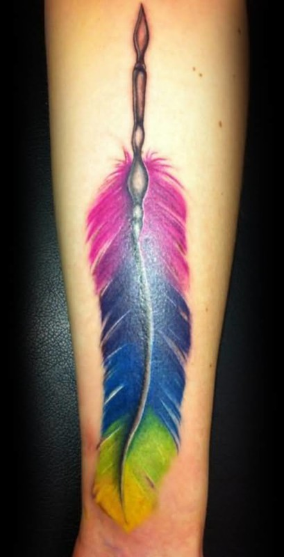 Ultimate 3 Color Nice Feather Tattoo Image