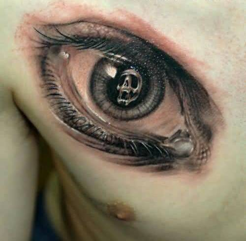 Ultimate Angry Skull Eye Tattoo Design Make On Men's Chest